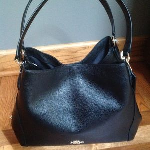 NWT Coach Edie Black Leather Shoulder Bag